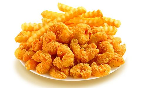 Popcorn Shrimp And Fries Popcorn shrimp with just a